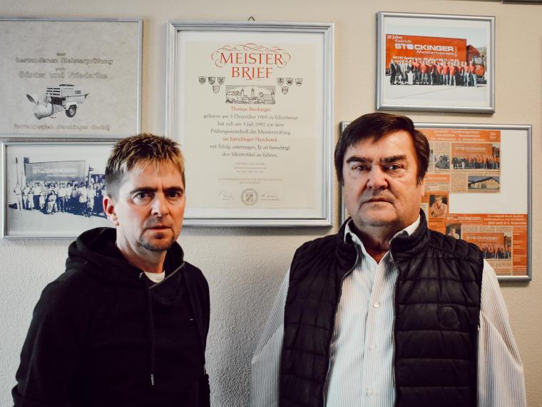 Thomas Stockinger und ein Mitarbeiter des Meisterbetriebs Thomas Stockinger GmbH in Röhrnbach